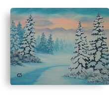 Early To Rise, winter scene Canvas Print