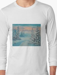 Early To Rise, winter scene Long Sleeve T-Shirt
