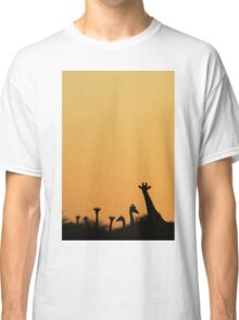 Giraffe Silhouette - African Wildlife Background - Majestic Colors in Nature Classic T-Shirt
