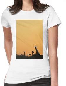 Giraffe Silhouette - African Wildlife Background - Majestic Colors in Nature Womens Fitted T-Shirt
