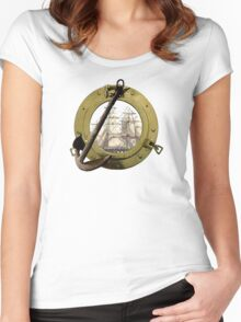 Clipper Through A Porthole Women's Fitted Scoop T-Shirt
