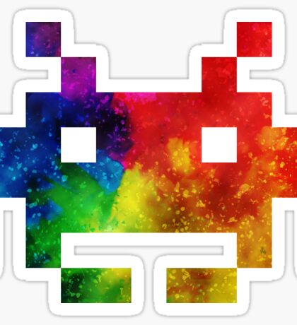 Colour-Burst Space Invader Sticker