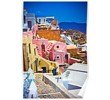 colorful houses on Santorini Poster