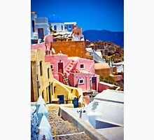 colorful houses on Santorini Unisex T-Shirt