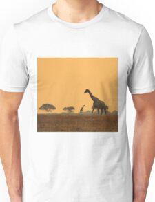 Giraffe Silhouette - African Wildlife Background - Magnificent Freedom Unisex T-Shirt