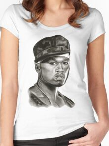 50 cent in black and white Women's Fitted Scoop T-Shirt