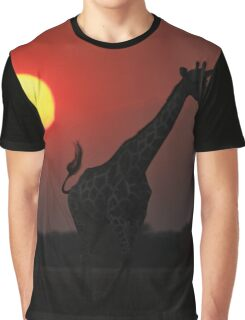 Giraffe silhouette - African Wildlife Background - Sun of Glory Graphic T-Shirt