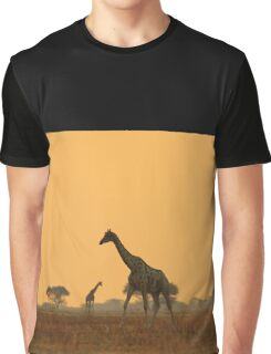 Giraffe Silhouette - African Wildlife Background - Magnificent Freedom Graphic T-Shirt