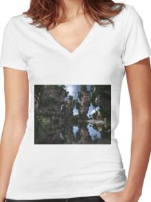 Fantasy Oasis  Women's Fitted V-Neck T-Shirt