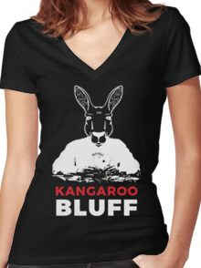 Smart Kangaroo Bluff Poker Game Playing Vector Face Women's Fitted V-Neck T-Shirt