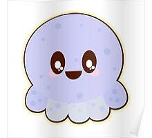Cute Kawaii Baby Blue Octopus Poster