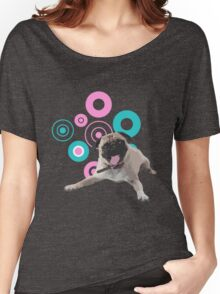 Retro Circles Pug Vector Women's Relaxed Fit T-Shirt