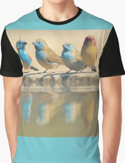 Exotic Colorful Wild Birds from Africa - Blue and Violet-eared Waxbill - Colors in Nature Graphic T-Shirt
