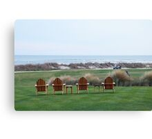 Chairs at the Ocean Course 18th Green Canvas Print