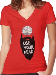 USE YOUR HEAD SHIRT Women's Fitted V-Neck T-Shirt