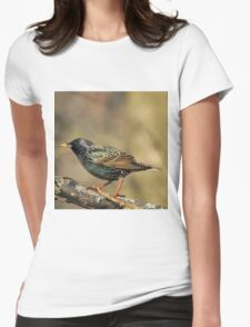 European Starling - Colorful Wild Birds - Iridescent Green Womens Fitted T-Shirt