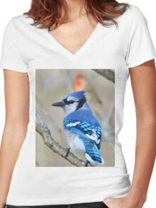 Blue Jay - Exotic Colorful Wild Birds - Natural Beauty Women's Fitted V-Neck T-Shirt