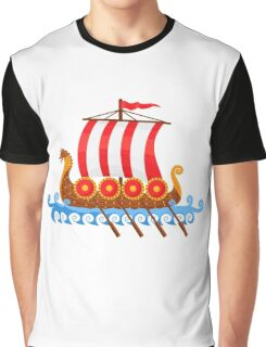 Cartoon Viking Ship Vector Illustration Graphic T-Shirt