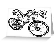 Snake Riding  A Bike Greeting Card