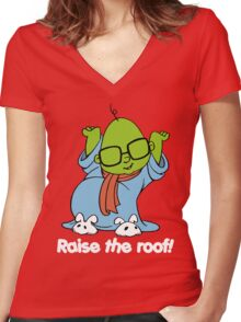 Muppet Babies - Bunsen - Raise The Roof - White Font Women's Fitted V-Neck T-Shirt