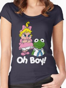 Muppet Babies - Kermit & Miss Piggy - Oh Boy - White Font Women's Fitted Scoop T-Shirt