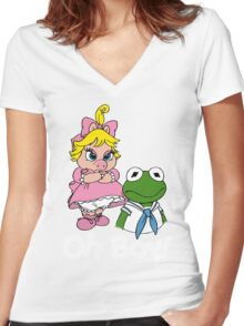 Muppet Babies - Kermit & Miss Piggy - Oh Boy - White Font Women's Fitted V-Neck T-Shirt