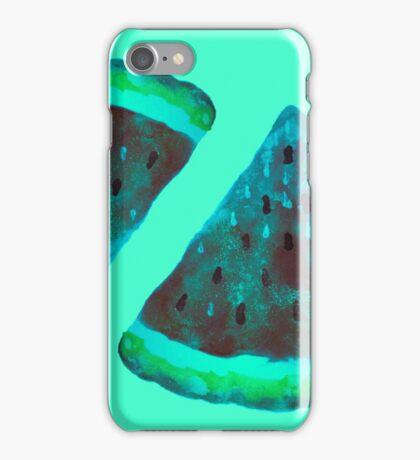 Watercolor Watermelon Blue Toned iPhone Case/Skin