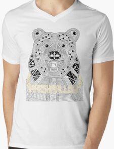 Marshmallow Gangsta Bear Mens V-Neck T-Shirt