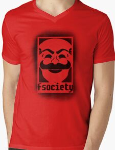 fsociety logo - black spray painted Mens V-Neck T-Shirt