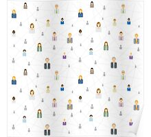 Seamless business social network pattern Poster