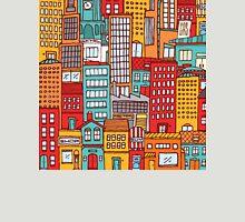 Seamless pattern background of cartoon city Unisex T-Shirt