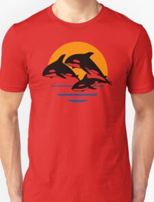 Orcas  And Sunset  Funny Men's Tshirt Unisex T-Shirt