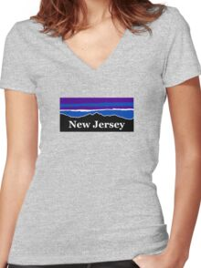New Jersey Midnight Mountains Women's Fitted V-Neck T-Shirt