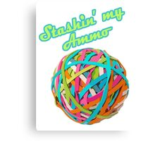 Ammo Stash Rubberband Ball Funnies Canvas Print