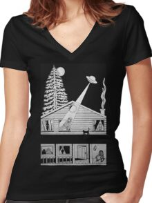 Alien Abduction Women's Fitted V-Neck T-Shirt