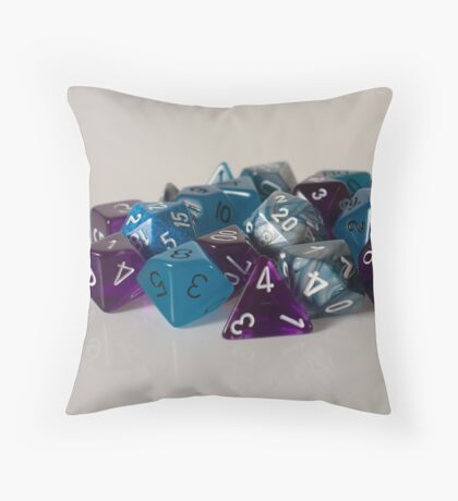 Silver Blue Purple Dice Throw Pillow