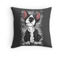 Cheeky English Bull Terrier Black & White Throw Pillow