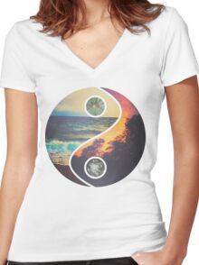 """CHILL VIBES """"YANG"""" Women's Fitted V-Neck T-Shirt"""