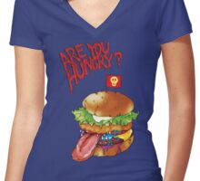 Are you hungry? (hamburger) Women's Fitted V-Neck T-Shirt