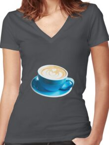 Heart in foam in blue cup Women's Fitted V-Neck T-Shirt