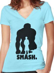 SMASH. Women's Fitted V-Neck T-Shirt