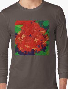 Red Ixora abstract Long Sleeve T-Shirt