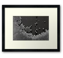 Cold winter's night. Frost on window. Small town of Norway. Framed Print