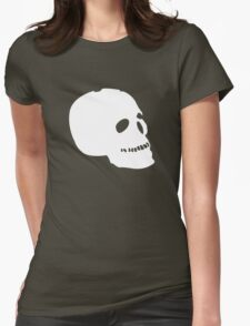 Skull Human funny nerd geek geeky Womens Fitted T-Shirt