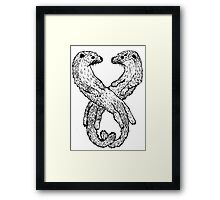 Black and White Otters Framed Print