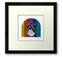 totoro rainbow rain Framed Print