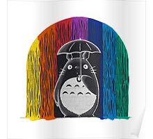 totoro rainbow rain Poster