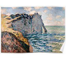 1885-Claude Monet-The Cliff of Aval, Etrétat Poster
