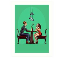 Couple in restaurant Art Print