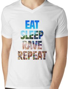 Eat Sleep Rave Repeat Mens V-Neck T-Shirt